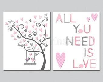 Pink and grey Nursery Art Print Set, 8x10, Kids Room Decor, Baby / Children Wall Art - love birds, all you need is love..
