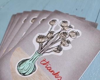 Thankyou card set, x 6, mid century modern, greeting card set, thanks, wedding thankyou cards, with eco envelopes