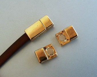 2 clasps - 5mm Zamak magnetic clasp for flat leather - gold color - leather bracelets supplies (ZC42)