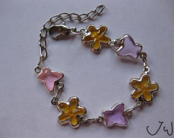 Butterfly and Flower Chain Bracelet