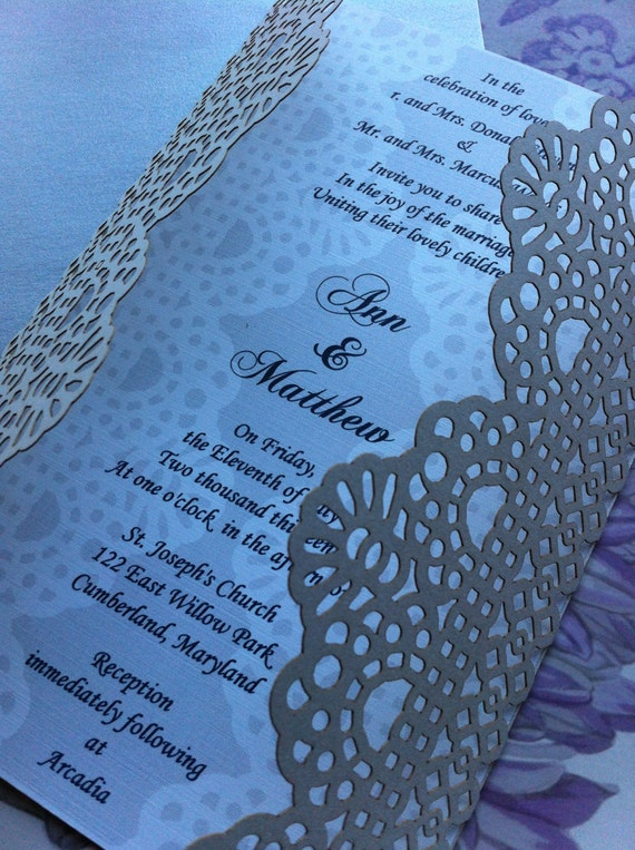 Laser Cut Wedding Invitation, Lace Fold Card, Custom Personalized