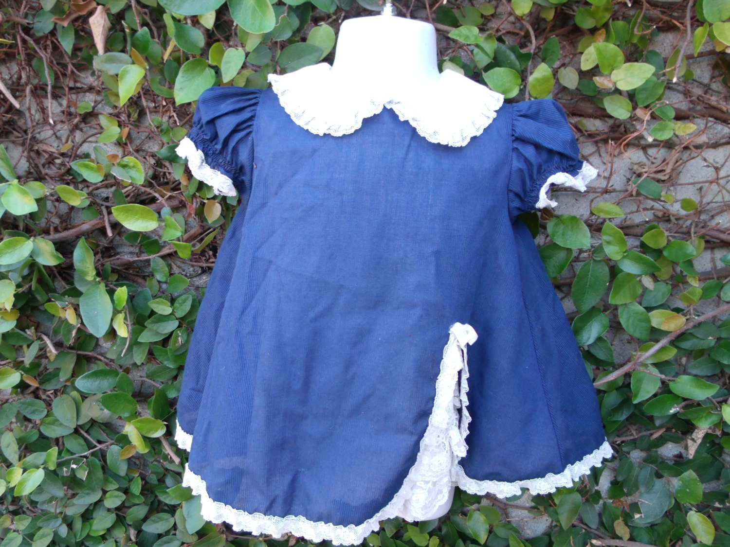 Vintage 50 s Navy Blue Baby Girl Dress White by