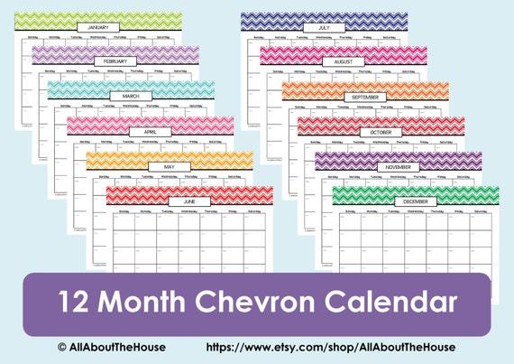 Perpetual Calendar Chevron Calendar 2015 2016 Calendar Any Year Blank ...