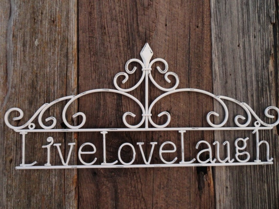 live love laugh wall decor cast iron white distressed metal. Black Bedroom Furniture Sets. Home Design Ideas