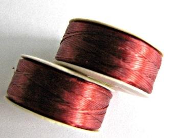 Red Thread,  size D Thread, Nymo Nylon Thread, Seed Beading Thread, Beadweaving Thread,  Sewing Thread, Craft thread, 2 Bobbins Item #181