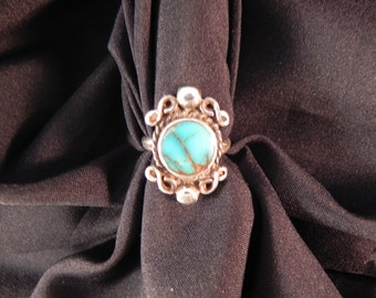 Vintage Ring Native American Turquoise Setting and Silver Wire Size6 1/2