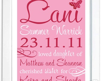 Custom Printable Birth Art Baby Name, Birth Announcement,  Shower Gift, Pink Butterflies Baby Child