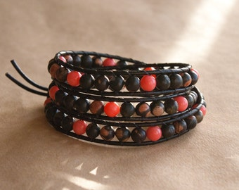 Plum Jasper & Coral Gemstone Leather Wrap Bracelet