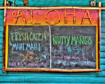 Chalk Board Menu at Aloha Mixed Plate on Maui
