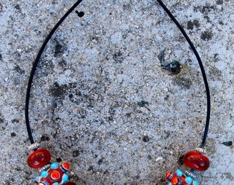 Handmade Glass Lampwork Bead Necklace