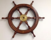 "Wood and Brass Ship Wheel 24"" Wooden Ships Wheel / Steering Wheel for a Boat Wheels / Decorative Ship's Wheel"