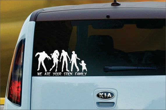 We Ate Your Stick Family CUSTOM Vinyl Window Decal Sticker - Custom vinyl window decals