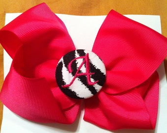 Monogrammed button bow pink zebra