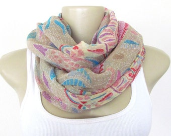 Taupe Scarf - Taupe Pink Blue Large Scarf