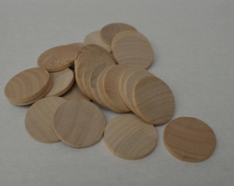 """1-1/4"""" Wood Discs - Wood Coins - Set of 25 - Unfinished - Wood Rounds - Wood Circles - Craft Circles - Game Pieces"""