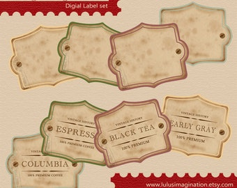 Instant download - Vegetables in Autumn - Digital Vintage Label Set