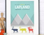Retro print, poster, Lapland, reindeer, experience Scandinavia, Scandinavian landscape, vintage travel poster, Nordic print, wall decor,