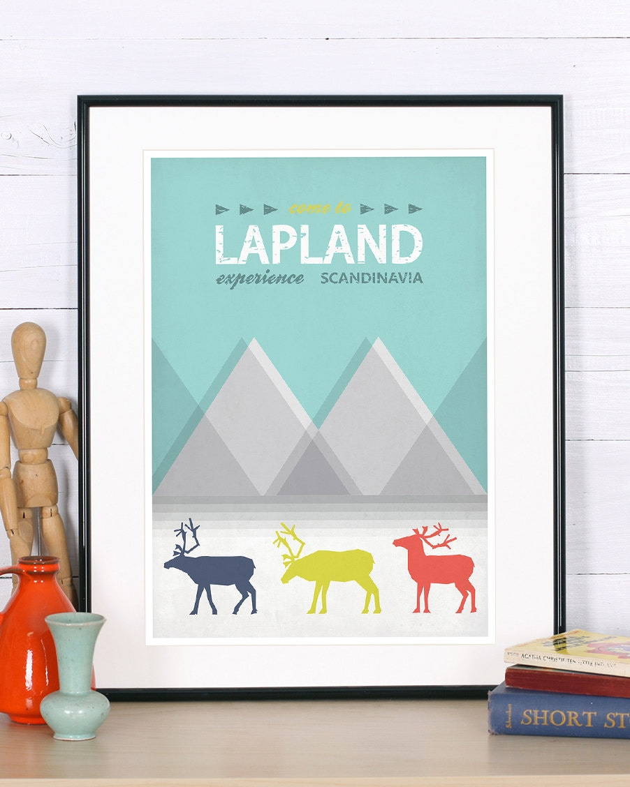 retro print poster lapland reindeer experience. Black Bedroom Furniture Sets. Home Design Ideas
