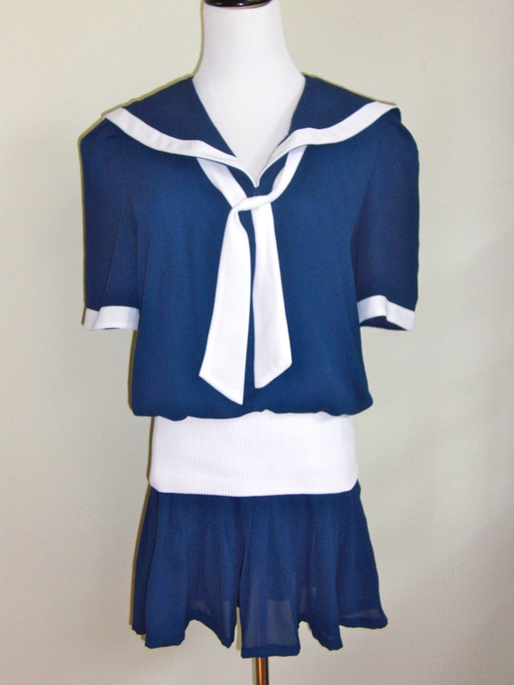 Vtg 1980's Navy SAILOR NAUTICAL Mini DRESS
