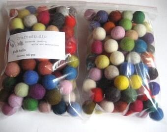 100 Felt Balls 2 cm / Multicolored/ Handmade/ Pack of 100
