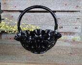 Vintage Black Amethyst Thumbprint basket - candy dish- ruffled edges -Fenton