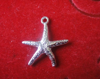 925 sterling silver  starfish charm 1 pc., silver starfish,starfish charm,starfish,sea life