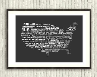 The Music of America - Limited Edition Typographic Poster Print (A3 - 16.5 x 11.7 inches)