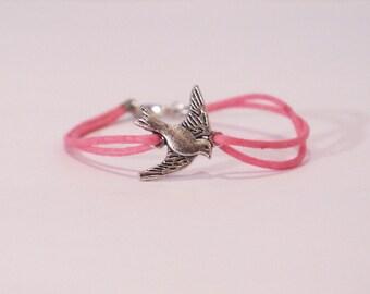 NEW Extra Small Pink Dove Charm Bracelet