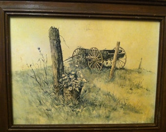 Wagon In The Field Print by Rudy Nappi