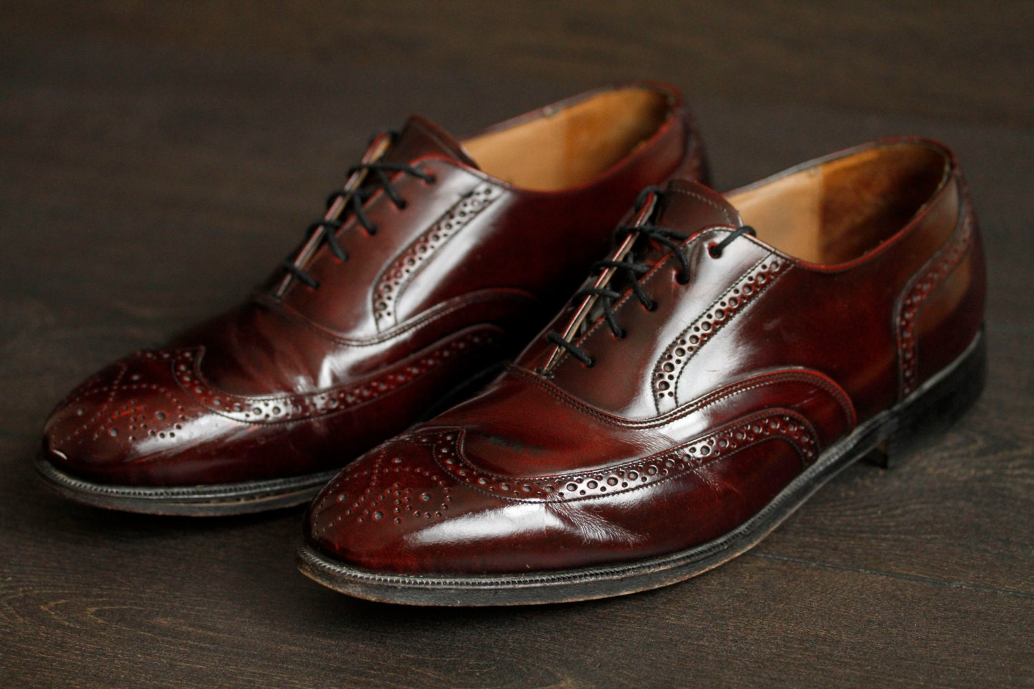 oxblood wing tip mens vintage dress shoes by