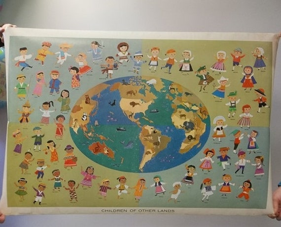 Vintage Children of Other Lands 1959 Poster Wall Hanging