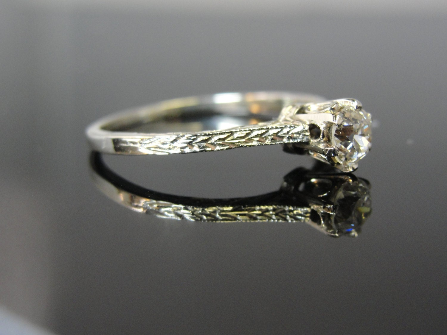Reserved Gorgeous Engraved Solitaire Engagement Ring