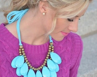 Anthropologie Inspired Turquoise Briolette Necklace