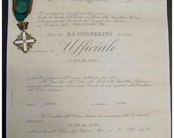 Italy Military Medal Officer's Cross Order Merit Italian Republic Decoration w Diploma 1983 Award