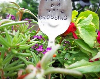 Black Cat Crossing- Vintage Spoon Garden Marker