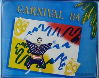 Vintage CARNIVAL POSTER, 1984 Michael Evans, Steel Pan Musician, St. Thomas, US Virgin Islands
