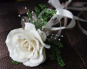 BURLAP Rose Flower Girl Wedding Wand - Your Choice of Accent Color and Details