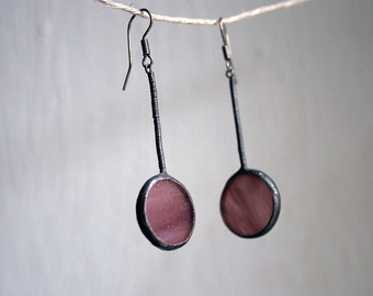 Soft purple earrings, Modern Stained Glass Jewelry, Simple Desighn Earrings, Everyday Jewelry