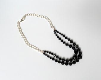 black bead jewelry  chain beaded necklace