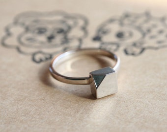 sterling silver cube ring