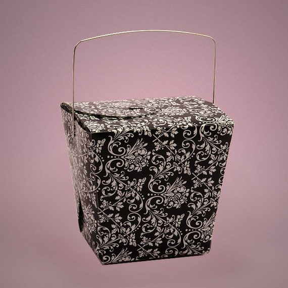 Black And White Damask Favor Boxes : Black and white damask chinese take out favor by