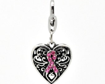 Breast Cancer Awareness Pink Clip Charm To Clip On Charm Bracelet