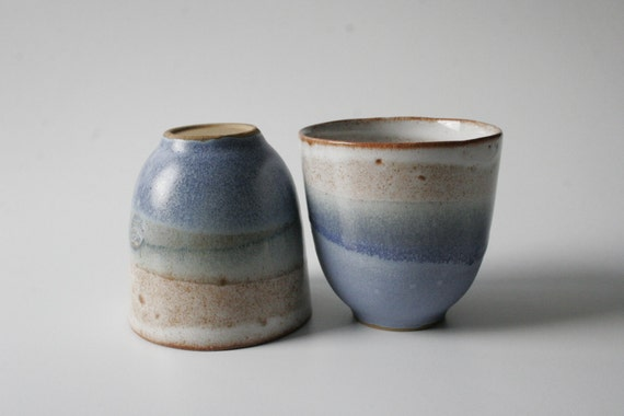 Set of two - rustic vintage stoneware teacup or coffeecup in sea foam green, blue and white