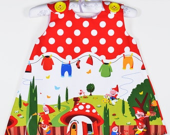 Gnomeville dress, Fun  dress, Top, Etsy Kids, Modern, Aline Dress, Red Polka Dots,Children clothing, by Marvieshop