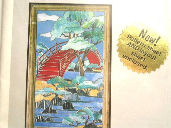 """Stained Glass Pattern - Bridge of Tranquility - Full Size Pattern - 20""""x23"""" - Made in USA"""