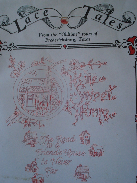 RESERVED/    Home Sweet Home Embroidery  Transfer Pattern 1800's Copy Red & White