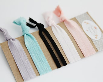 Yoga Hair Ties - Pinks and Blues - Hair Ties - Soft Elastic