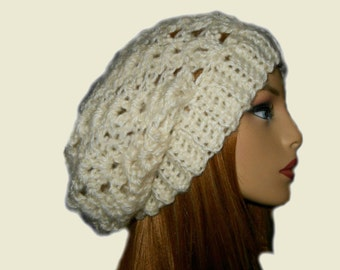 SLOUCHY Beanie Hat Crochet Slouchie Beany Knit Slouch Knit White Fishermans Vanilla Cream Hat Gift Idea