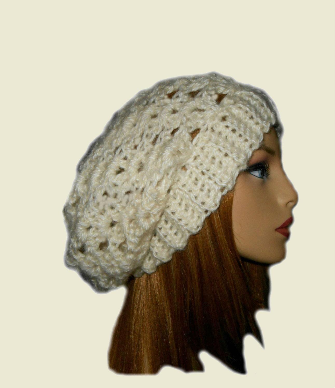Crochet Slouch Hat: SLOUCHY Beanie Hat Crochet Slouchie Beany Knit Slouch Knit