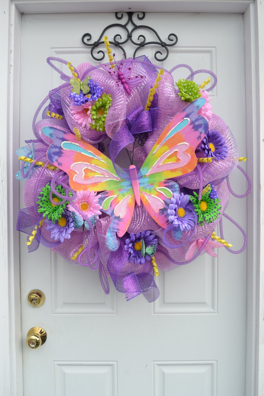 Butterfly Deco Mesh Wreath Bold Door Wreath Classy Butterfly